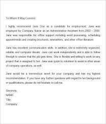 Recommendation Letter For Office Assistant Employment Recommendation Letter For Previous Employee Reference
