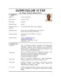 Cv Format In Nigeria 2014 Resume Template Example