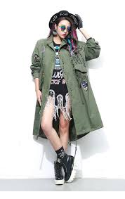 spring new fashion army green women and black trench coat with rivet and patch designs trenchcoat