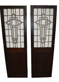 pair of arts and crafts leaded glass oak