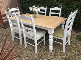 stunning shabby chic painted farmhouse dining table 6 chairs farrow ball