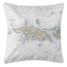 Nautical Chart Pillows Nautical Chart Pillow Virgin Islands