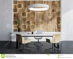 Design Manager Interior Design White And Light Wooden Manager Office Interior Stock