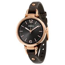 fossil georgia grey dial grey leather las watch es3077