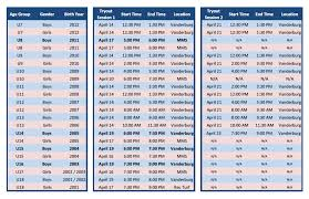 Travel Schedule Travel Tryouts