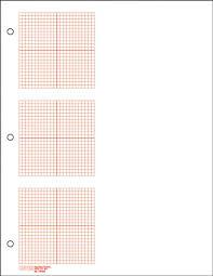 Three Grid Graph Paper Four Quadrant 1 8 Red Line