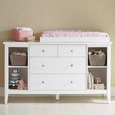 Small Wood Baby Changing Table Dresser Organization With Drawer And Shelves  Painted With White Color Decor Ideas