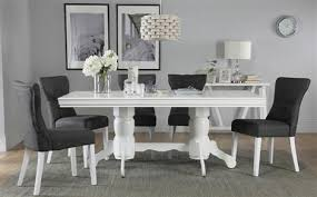 chatsworth white extending dining table with 6 bewley slate chairs