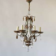 vintage french iron and crystal chandelier