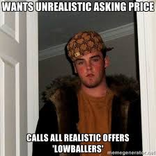 wants unrealistic asking price calls all realistic offers ... via Relatably.com