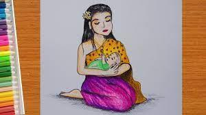 วาดรูป วันแม่ ง่ายๆสวยๆ | How to draw Beautiful Mothers Day - YouTube