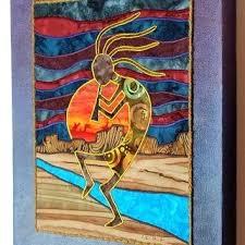 kokopelli decor native southwest art art quilt on canvas home decor kokopelli outdoor wall decor
