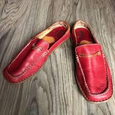 born w5860 women red leather mules clogs shoe flats us 7 5m eu 38 5 square toe