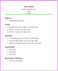 Resume Template Simple Easy Resume Templates Free Career Resume