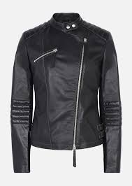 emporio armani biker jacket in leather and stretch fabric blouson woman r