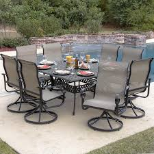image of la salle 9 piece sling patio dining set with swivel rockers and throughout