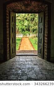 old opened door at a villa in india