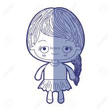 カワイイ青の網かけシルエットでかわいい女の子の髪を編みこみ