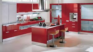 Red Kitchen Paint Modern Kitchen Interior Layout Design With Red Paint Backsplash