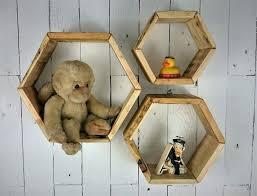 3 handmade hexagon wall hung display units shelf units hangers reclaimed wood