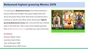 Movie Charts 2016 Ppt Bollywood Highest Grossing Movies 2019 Powerpoint