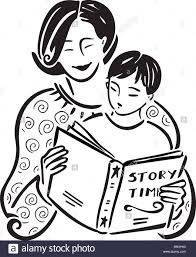 a mother reading a story book to her son