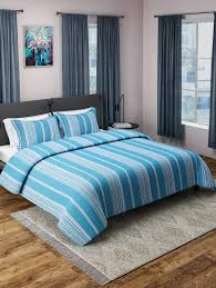sky blue woven design cotton double bed cover with 2 pillow covers 15460651 zoom