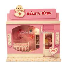 13503 beauty baby store dollhouse miniature european shop diy wooden doll house with led light miniatures brand baby wooden doll house
