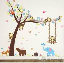 forest animals tree wall stickers for