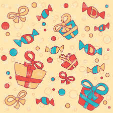 Gifts Background Funny Background With Gifts And Sweets Stock Vector Image
