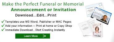 Funeral Announcements Memorial Announcement Template Obituary