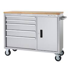 husky tool box workbench. husky 46 in. 5-drawer and 1-door stainless steel mobile workbench tool box