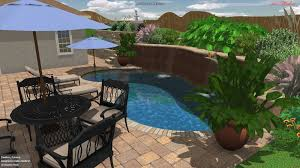 4 3D Pool With Greenery_ Waterfall_ And Umbrella