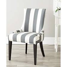safavieh mercer collection eva and white striped dining chair with trim nail head grey