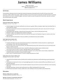 Template Principal Middle School Resume Sample Assistant Templ