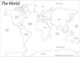 Blank Map Of North South Coloring World Continents Page Also