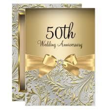 Elegant Invitation Cards Elegant Gold Bow Floral Swirl 50th Anniversary Invitation