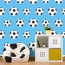 Belgravia Decor Goal Football Wallpaper in Light Blue features a football  inspired theme and will make a welcome addition to any boy's bedroom or  playroom.