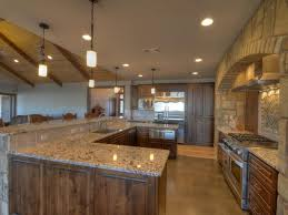 Rustic Kitchen Flooring Rustic Kitchen With Pendant Light Concrete Floors In Llano Tx