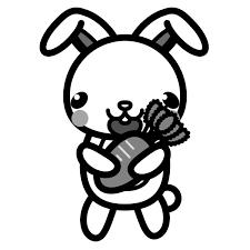かわいいうさぎとにんじんの無料イラスト商用フリー オイデ43
