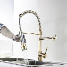 gold kitchen faucet. Fapully Gold Kitchen Faucet Sprayer Single Handle 360 Degree Rotating Cold Hot Water Mixer Sink Tap -in Faucets From Home Improvement On H