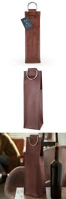 admiral brown vegan leather wine tote with metal handles by viski