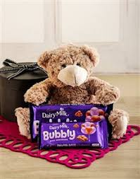 gifts teddy and cadbury chocolates in gift box