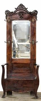 Antique Entryway Bench Coat Rack Antique Hall Tree With Beveled Glass Mirror Surrounded By Hat And 5
