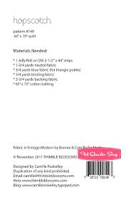 Hopscotch Pattern Adorable Hopscotch Downloadable PDF Quilt Pattern Thimble Blossoms Fat