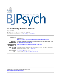 the biochemistry of affective disorders pdf available