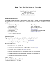 Fast Food Job Description For Resume 17 Examples Cashier Entry Level Resumes  Template .