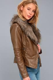 amherst brown faux fur trim vegan leather moto jacket