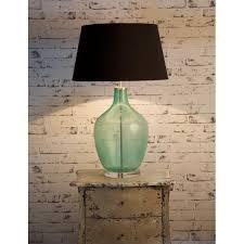 emac lawton large fortuna green glass bottle lamp base