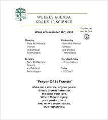 8+ Weekly Agenda Templates - Free Sample, Example, Format Download ...